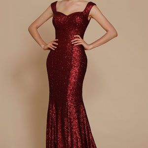 Prom dress red sequin off the shoulder